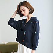 サインブラウス刺繍シャツ女性の新鮮な9点は緩いファッションシャツ韓国ファンスリーブ