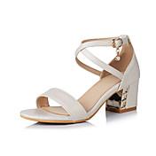 Mujer Zapatos Cuero Sintético Primavera / Verano Confort Sandalias Paseo Tacón Cuadrado Puntera abierta Hebilla Beige / Azul / Rosa / Sandalias de Tacón