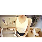 レディース お出かけ 夏 Tシャツ,シンプル Vネック ソリッド コットン ノースリーブ 薄手