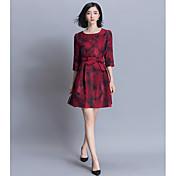 2017春新韓国スリムスリーブ刺繍ドレスは、春と秋の細長い部分は、ワード印刷スカート