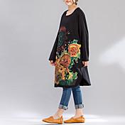 ビッグヤードの17春新韓国語バージョン緩いレジャーヒマワリ印刷野生のセータードレスと長いセクションに署名