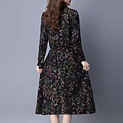 秋の女性新しい長袖のドレスは、薄いウエスト大きなスカートのポケットの印刷だった