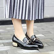 Mujer-Tacón Bajo-Confort-Zapatos de taco bajo y Slip-Ons-Informal-Cuero Patentado-Negro