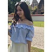 本当のショット!ワードショルダーストライプシャツ韓国半袖カジュアルシャツ女性