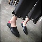 Mujer-Tacón Bajo-Confort-Zapatos de taco bajo y Slip-Ons-Informal-PU-Negro Beige