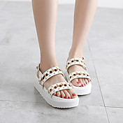 MujerSuelas con luz-Zapatos de taco bajo y Slip-Ons-Informal-Cuero de Cerdo-Blanco Negro