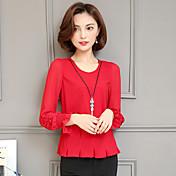 赤いシャツシフォンシャツ女性2017春と夏新しい韓国の長袖シャツスリムなトップスの女性