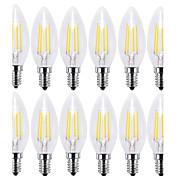 12pcs 4W 400lm E14 Bombillas de Filamento LED C35 4 LED COB Decorativa Blanco Cálido Blanco Fresco 2700 6000K AC 100-240V