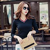 Mujer Clásico Ropa Cotidiana Primavera Otoño Camiseta,Escote Redondo Color sólido Manga Larga N/A Medio