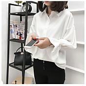 Mujer Simple Casual/Diario Camisa,Escote Chino Un Color Manga Larga Rayón