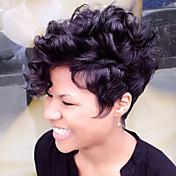 Mujer Pelo humano pelucas sin tapa Negro Marrón Blanco Corto Rizado Corte Pixie Corte a capas Con flequillo Peluca afroamericana