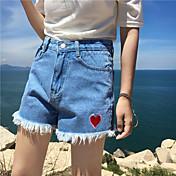 新しい韓国のハイウエストラブ刺繍ジーンズショートパンツタッセルバーネット