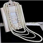 女性用 多層式 ロング丈 結婚式 レイヤードネックレス パールネックレス 人造真珠 真珠 レイヤードネックレス パールネックレス 、 結婚式 パーティー 誕生日