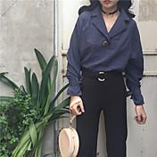 レディース カジュアル/普段着 シャツ,シンプル Vネック ストライプ コットン 長袖
