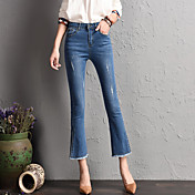 新しいヨーロッパ脚側スプリットマイクロスピーカーのジーンズの女性は薄い9点バリスクラッチワイドレッグパンツだった署名