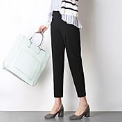 レディース OLスタイル ミディアムウエスト ペンシルベイト 非弾性 スリム パンツ 純色 純色
