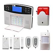 Voz lcd sistema de alarma inalámbrico gsm con pir detector de puerta estroboscópico sirena sms alarma alarm alarma de seguridad