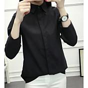 Mujer Vintage Noche Camisa,Cuello Camisero Un Color Manga Larga Algodón