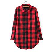 Mujer Simple Casual/Diario Verano Camisa,Escote Chino Cuadrícula Manga Larga Algodón Rojo / Negro Fino