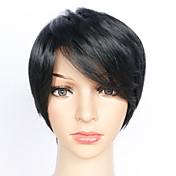 女性 人工毛ウィッグ キャップレス ショート丈 ストレート ブラック ナチュラルウィッグ ハロウィンウィッグ カーニバルウィッグ コスチュームウィッグ