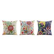3 PC Lino Almohada de viaje El amortiguador del sofá Funda de almohada Almohada de cama Almohada de cuerpo,Floral EstampadosDetalle