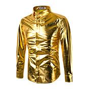 メンズ カジュアル/普段着 春 シャツ,シンプル ストリートファッション クルーネック ソリッド コットン レーヨン 長袖 薄手