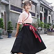Mujer Corte Swing Vestido Fiesta Noche Casual/Diario Tejido Oriental,Un Color Escote en Pico Midi Algodón Verano Tiro Medio Microelástico