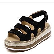 MujerSuelas con luz-Zapatos de taco bajo y Slip-Ons-Informal-Cuero de Cerdo-Negro Gris