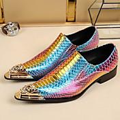 Hombre Zapatos Cuero Primavera Otoño Confort Innovador Zapatos formales Zapatos de taco bajo y Slip-On Paseo Punta Metálica Para Boda