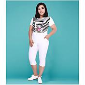Mujer Casual Tiro Alto Microelástico Ajustado Chinos Pantalones,Un Color Verano