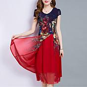 Mujer Tallas Grandes Noche Gasa Vestido - En Capas / Estampado, Floral Midi / Hasta la Rodilla / Verano