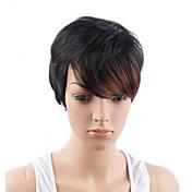 Pelucas sintéticas Corto Corte Recto Negro / Auburn Pelo reflectante/balayage Corte Pixie Corte a capas Con flequillo Peluca natural