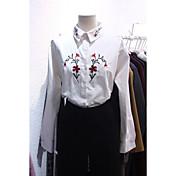 レディース カジュアル/普段着 シャツ,シンプル シャツカラー 刺しゅう コットン 長袖