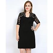 Mujer Encaje Camiseta Túnica Vestido Casual/Diario Discoteca Tallas Grandes Sexy Simple Bonito,Un Color Escote en Pico Sobre la rodilla