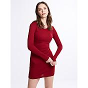 Mujer Vaina Vestido Casual/Diario / Discoteca Sexy,Un Color Escote Redondo Sobre la rodilla 3/4 Manga Rojo / Negro Lana Otoño / Invierno
