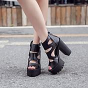 MujerConfort-Tacones-Informal-Cuero Patentado-Blanco Negro
