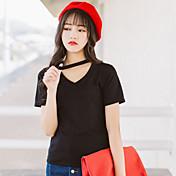 Mujer Sexy Simple Casual/Diario Noche Verano Camiseta,Escote en Pico Un Color Manga Corta Algodón Fino