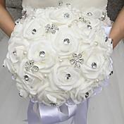ウェディングブーケ ラウンド型 バラ ブーケ 結婚式 ビーズ フォーム ラインストーン 11.8inch(約30cm)