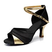 Mujer Zapatos de Baile Latino Semicuero Tacones Alto Tacón Personalizado Personalizables Zapatos de baile Dorado / Plata / Rojo
