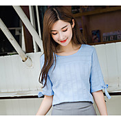 Mujer Casual Diario Camiseta,Escote Redondo Un Color Algodón