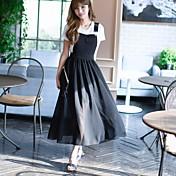 Mujer Recto Vestido Casual/Diario Simple,Un Color Escote Redondo Maxi Manga Corta Poliéster Nailon Primavera Verano Tiro Medio