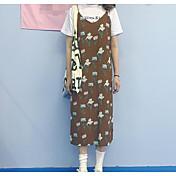 レディース カジュアル/普段着 夏 Tシャツ(21) ドレス スーツ,シンプル ストラップ プリント ノースリーブ マイクロエラスティック