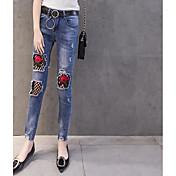 レディース ストリートファッション ミッドライズ スリム strenchy ジーンズ パンツ プリント カラーブロック