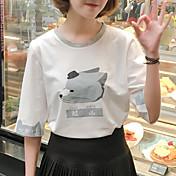 Mujer Simple Bonito Casual/Diario Primavera Verano Camiseta,Escote Redondo Estampado Manga Corta Algodón Fino
