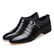 メンズ 靴 マイクロファイバー 春 夏 秋 冬 フォーマルシューズ ファッションブーツ ブーツ ウォーキング リベット コンビ 用途 結婚式 パーティー ブラック Brown