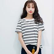 Mujer Simple Casual/Diario Primavera Verano Camiseta,Escote Redondo A Rayas Manga Corta Algodón Fino