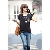 レディース カジュアル/普段着 Tシャツ,シンプル ラウンドネック ソリッド カラーブロック コットン 半袖