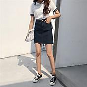 レディース シンプル カジュアル/普段着 膝上 スカート 純色 ゼブラプリント 夏