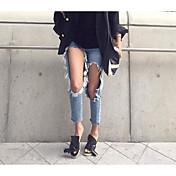 Mujer Chic de Calle Tiro Medio Microelástico Corte Recto Vaqueros Pantalones, Un Color Verano