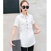 Mujer Simple Noche Trabajo Verano Camisa,Cuello Camisero Un Color Manga Corta Algodón Medio